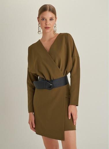 Monamoda Kruvaze Yakalı Yarasa Kol Elbise Yeşil